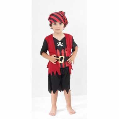 Rood zwart piraten verkleedkleding kind tip