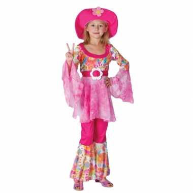 Roze hippie verkleedkleding meisjes tip