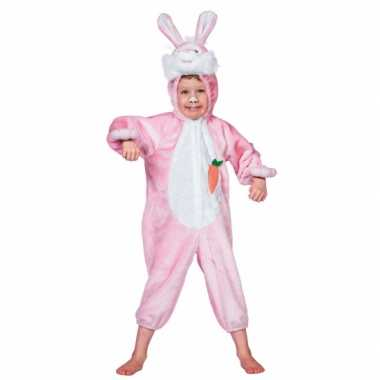 Roze konijnen verkleedkleding kind tip