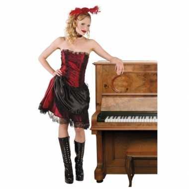 Saloongirl verkleedverkleedkleding rood/zwart tip