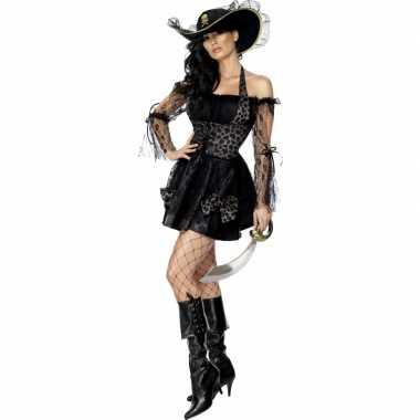 Sexy verkleedkleding piraat zwart goud tip