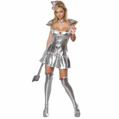 Sexy zilveren blik verkleedkleding volwassen tip