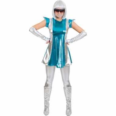Space verkleedkleding blauw/zilver dames tip