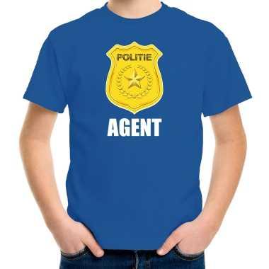 Verkleedkleding agent politie embleem carnaval t shirt blauw kind tip
