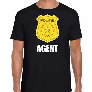 Verkleedkleding agent politie embleem carnaval t shirt zwart heren tip