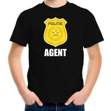 Verkleedkleding agent politie embleem carnaval t shirt zwart kind tip