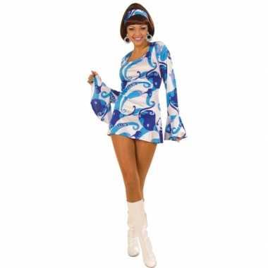 Verkleedkleding  Blauw carnaval hippie jurkje dames tip