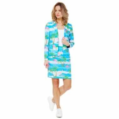 Verkleedkleding blauwe business suit zomerprint dames tip