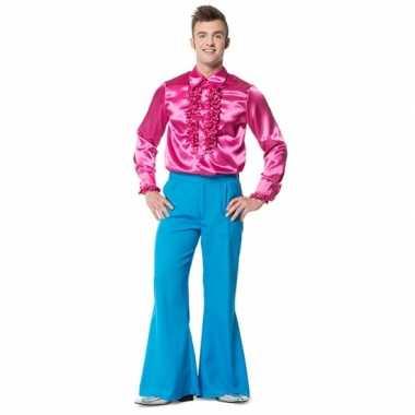 Verkleedkleding  Blauwe hippie broek heren tip