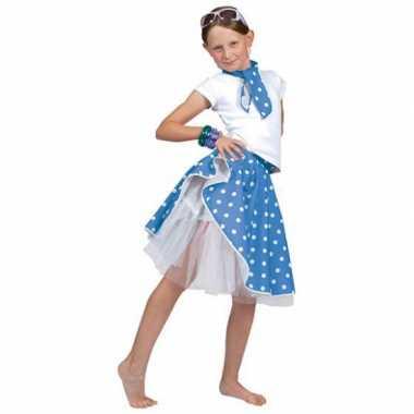 Verkleedkleding  Blauwe rok witte stippen meiden