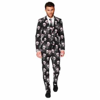 Verkleedkleding  Business suit doodshoofden print tip