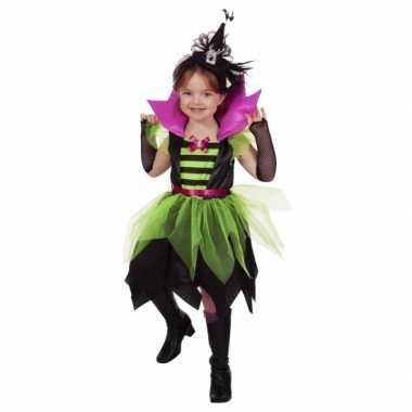 Verkleedkleding  Carnaval heksen jurkje groen/zwart meisjes tip