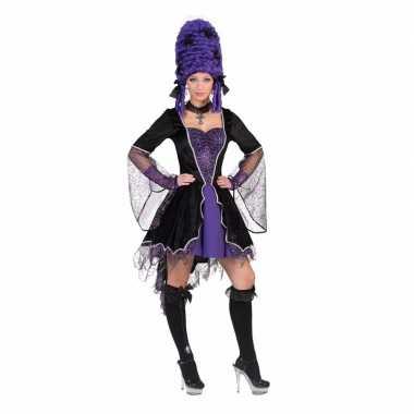 Verkleedkleding carnavals jurk vampier zwart paars tip