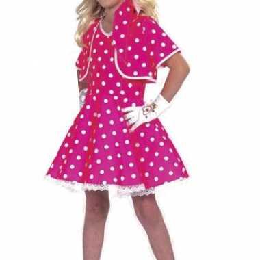 Verkleedkleding carnavals jurkje meisjes roze wit tip