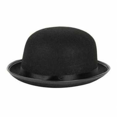 Verkleedkleding charlie chaplin/laurel hardy verkleed hoedje zwart vo