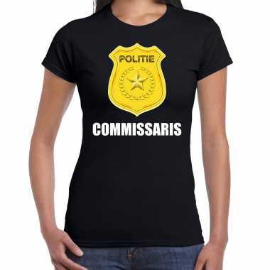 Verkleedkleding commissaris politie embleem carnaval t shirt zwart dames tip