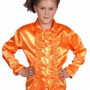 Verkleedkleding disco blouse oranje kind tip