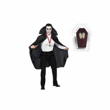 Verkleedkleding dracula cape zwart inclusief hoektanden volwassen tip