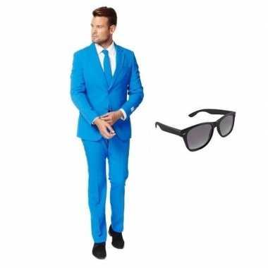 Verkleedkleding feest blauw tuxedo/business suit 50 (l) heren gratis