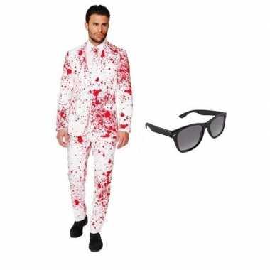 Verkleedkleding feest bloed print tuxedo/business suit 50 (l) heren g