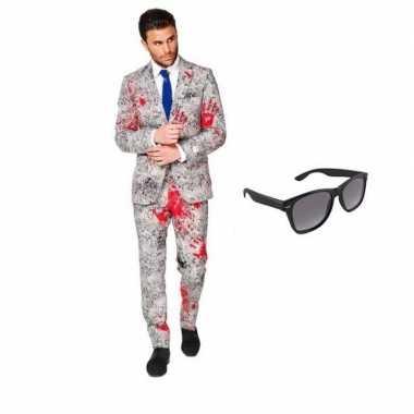 Verkleedkleding feest bloedhanden print tuxedo/business suit 52 (xl)