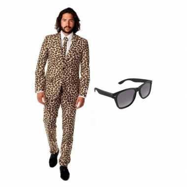 Verkleedkleding feest bruin tuxedo/business suit 50 (l) heren gratis