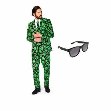 Verkleedkleding feest cannabis print tuxedo/business suit 52 (xl) her