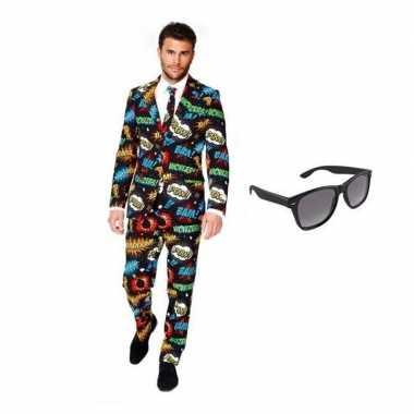 Verkleedkleding feest comic print tuxedo/business suit 48 (m) heren g