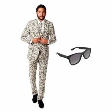 Verkleedkleding feest dollar print tuxedo/business suit 48 (m) heren