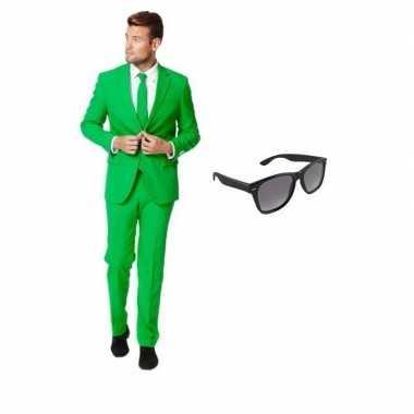 Verkleedkleding feest groen tuxedo/business suit 46 (s) heren gratis