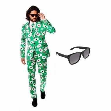 Verkleedkleding feest groene tuxedo/business suit 52 (xl) heren grati