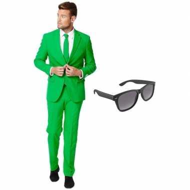 Verkleedkleding feest groene tuxedo/business suit 54 (xxl) heren grat