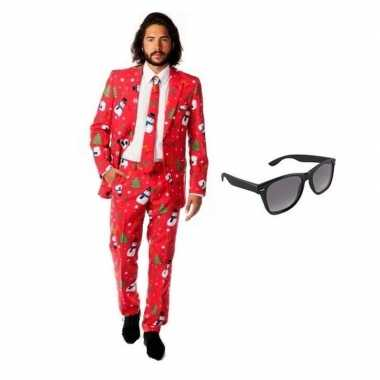 Verkleedkleding feest kerst print tuxedo/business suit 54 (2xl) heren