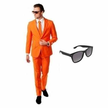 Verkleedkleding feest oranje tuxedo/business suit 54 (2xl) heren grat
