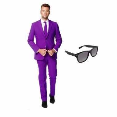 Verkleedkleding feest paars tuxedo/business suit 46 (s) heren gratis