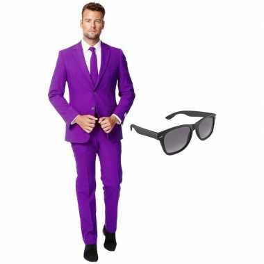Verkleedkleding feest paarse tuxedo/business suit 54 (xxl) heren grat