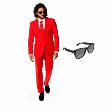 Verkleedkleding feest rode tuxedo/business suit 46 (s) heren gratis z