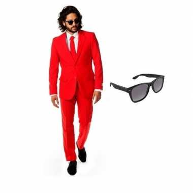 Verkleedkleding feest rood tuxedo/business suit 54 (2xl) heren gratis