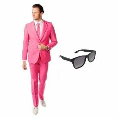 Verkleedkleding feest roze tuxedo/business suit 50 (l) heren gratis z
