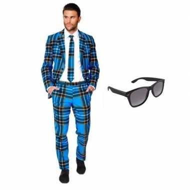 Verkleedkleding feest schotse print tuxedo/business suit 54 (2xl) her