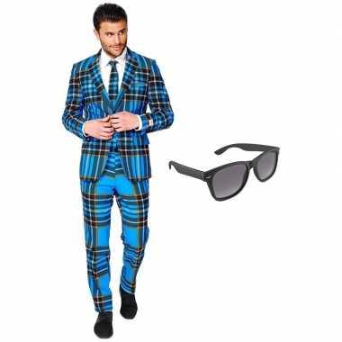 Verkleedkleding feest schotse ruit tuxedo/business suit 54 (xxl) here