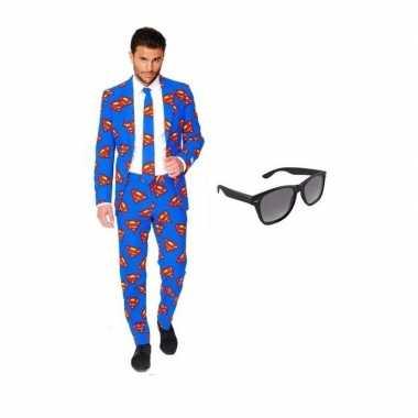 Verkleedkleding feest superman print tuxedo/business suit 54 (2xl) he