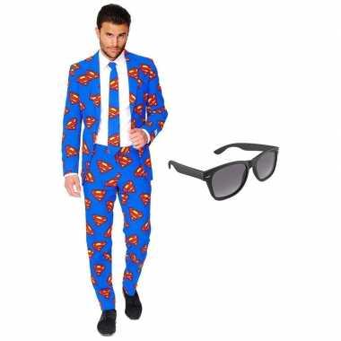 Verkleedkleding feest superman tuxedo/business suit 54 (xxl) heren gr