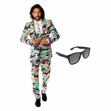 Verkleedkleding feest televisie print tuxedo/business suit 52 (xl) he