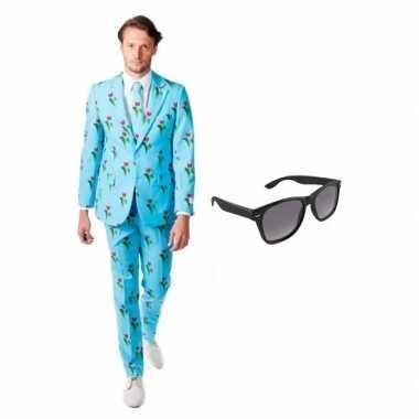 Verkleedkleding feest tulpen print tuxedo/business suit 50 (l) heren