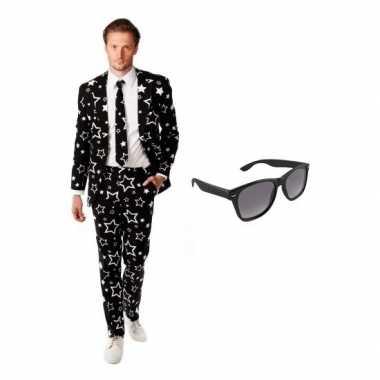 Verkleedkleding feest zwart tuxedo/business suit 50 (l) heren gratis