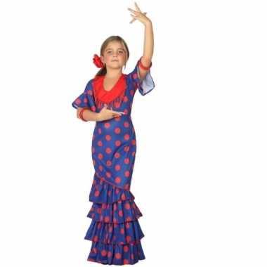 Verkleedkleding flamenco danseressen jurk meisjes blauw tip