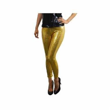 Verkleedkleding  Gouden disco legging pailletten tip