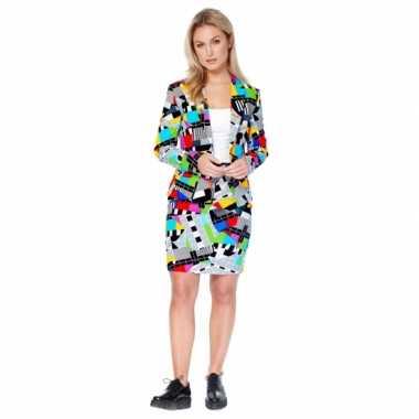 Verkleedkleding grijze business suit televisie print dames tip