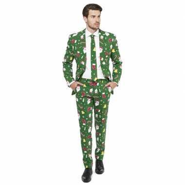 Verkleedkleding groene business suit kerst print tip